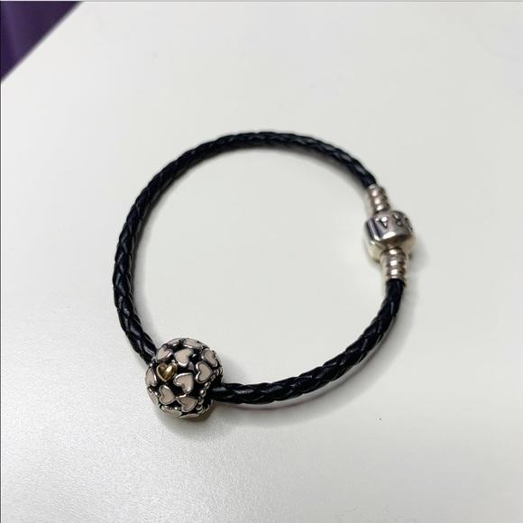 Pandora Jewelry - Pandora Leather Bracelet & Charm